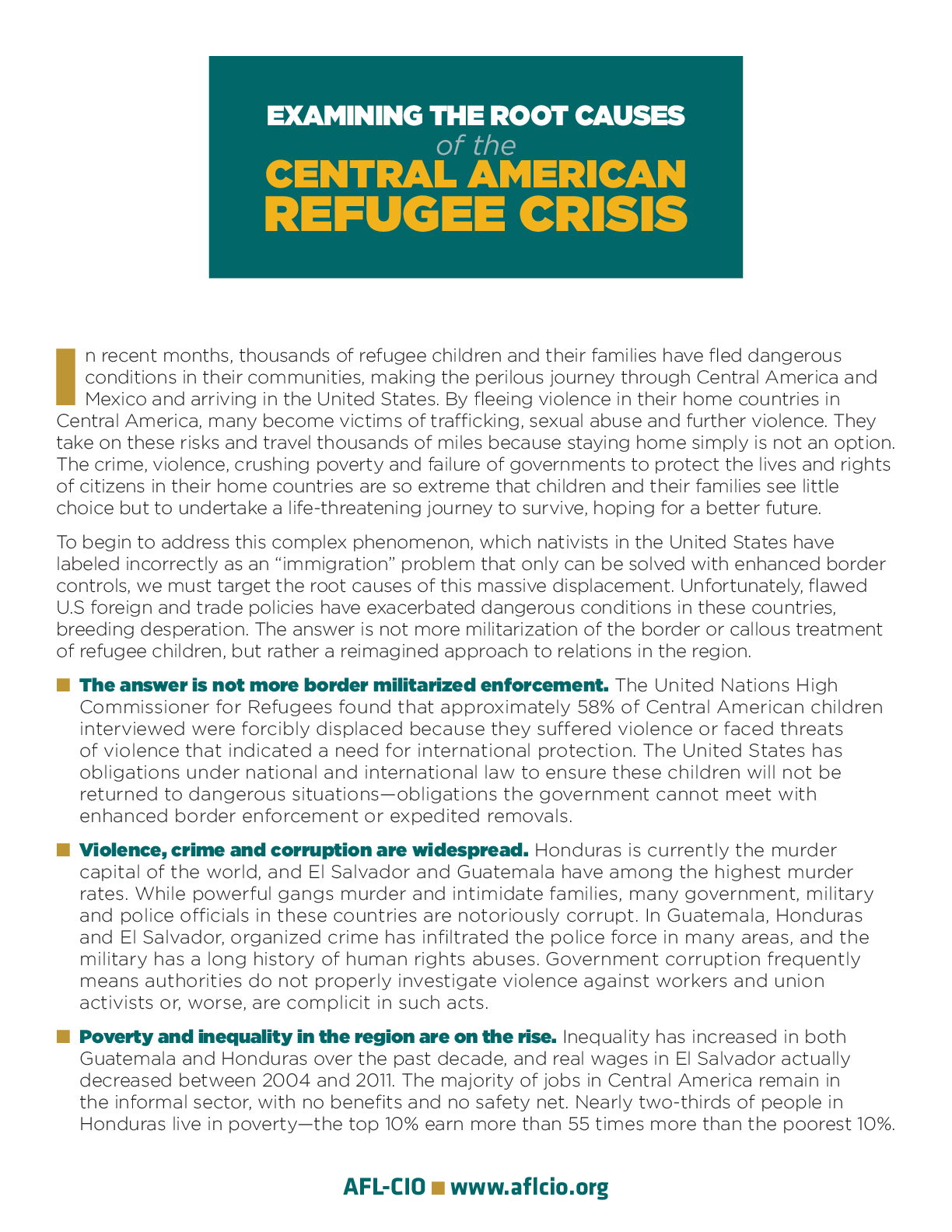 examining the root causes of the central american refugee crisis