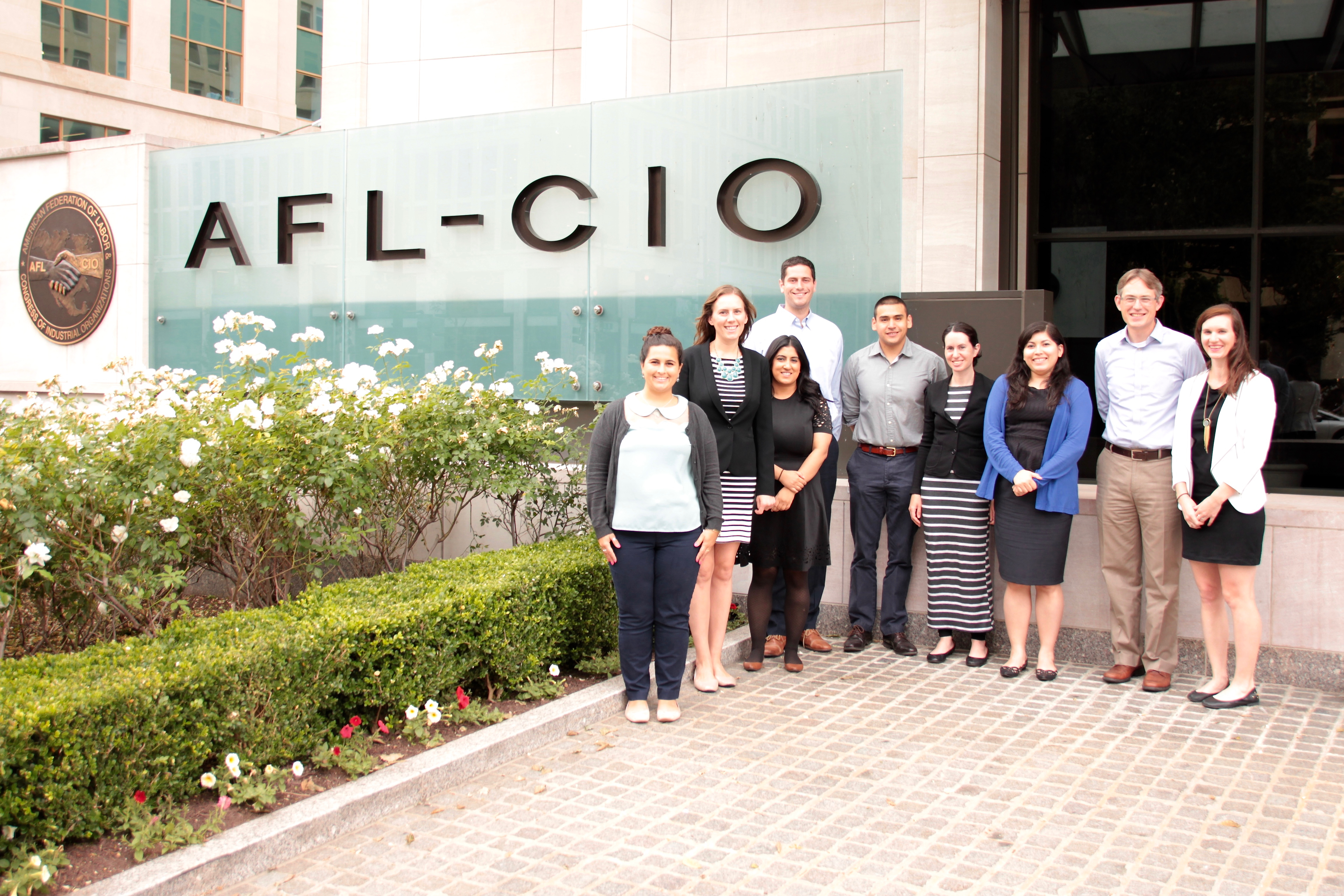 Law students from Union Summer outside the AFL-CIO HQ.