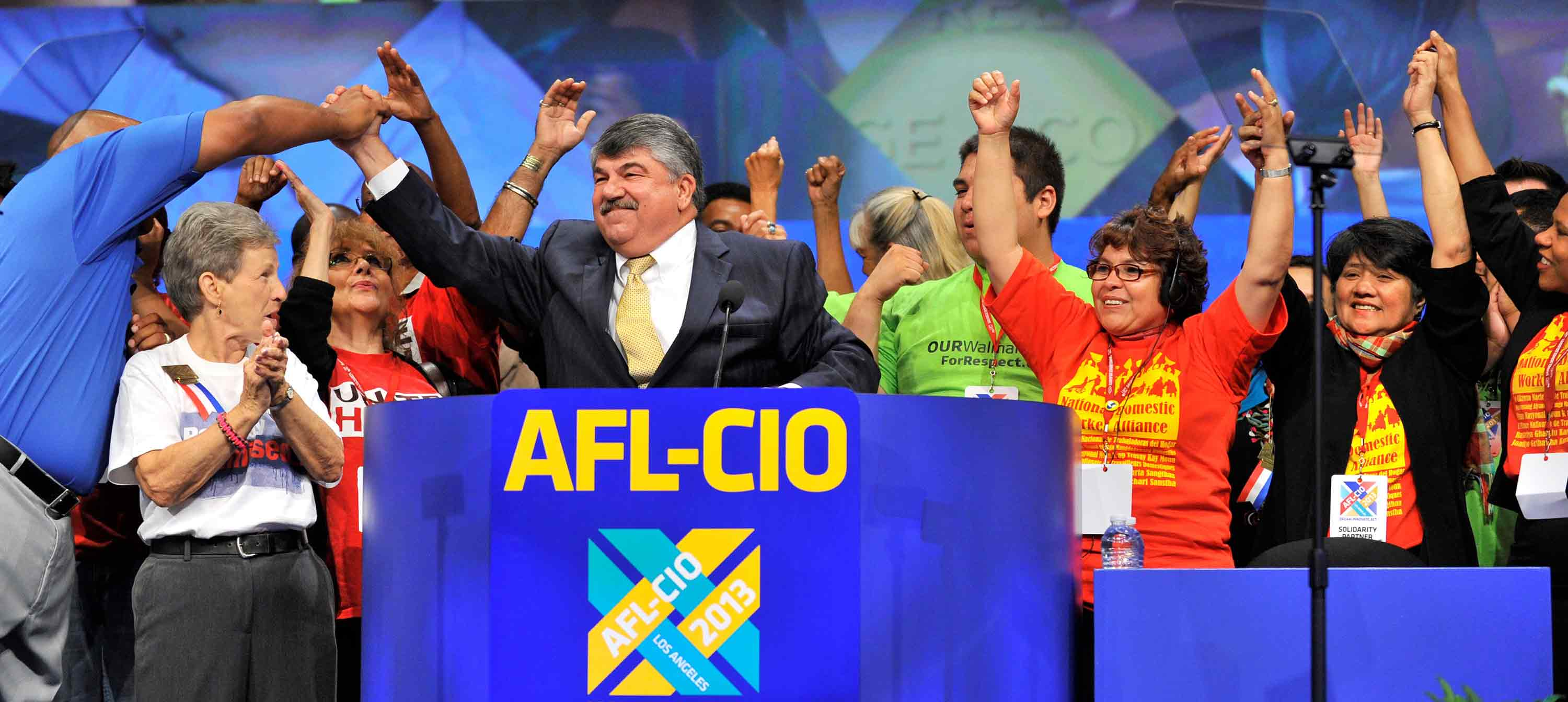 AFL-CIO President Richard L. Trumka and Union Members on the 2013 Convention Stage