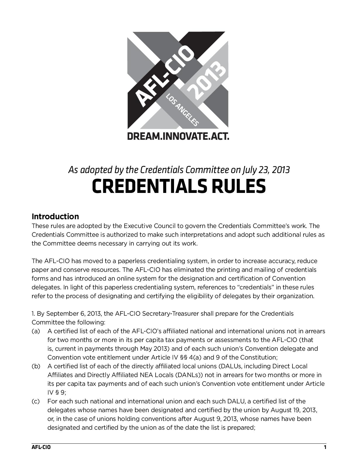 Credentials Rules Afl Cio
