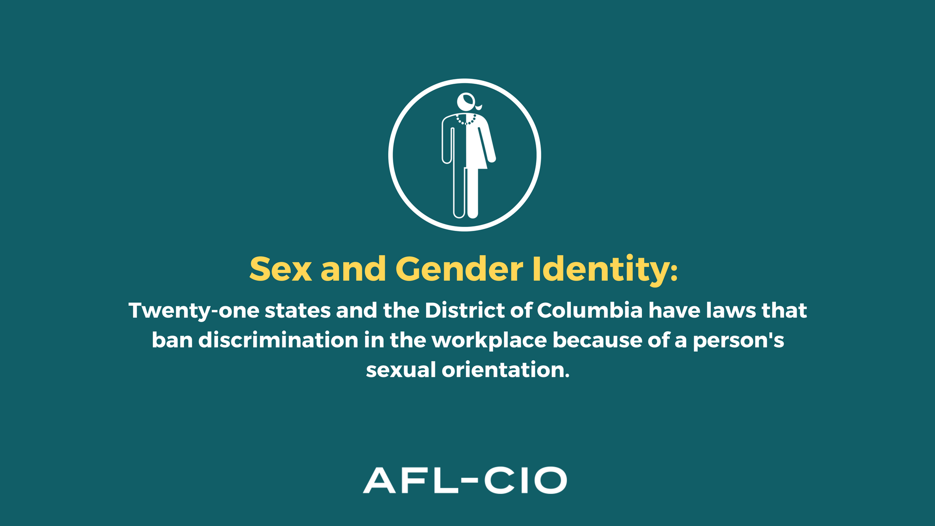 21 states and the District of Columbia have laws that ban discrimination in the workplace because of person's sexual orientation.