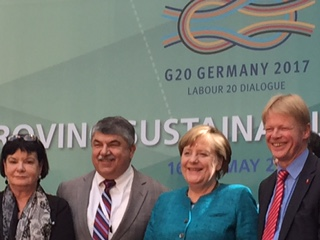 Richard Trumka with Angela Merkel