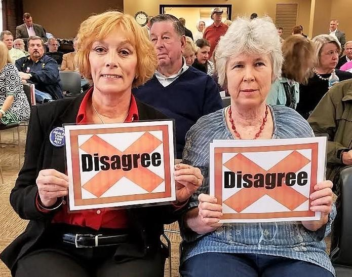 At a Paducah, KY, town hall, Jennifer Smith and Leslie McColgin let Rep. James Comer know how they felt about his support for Trumpcare.