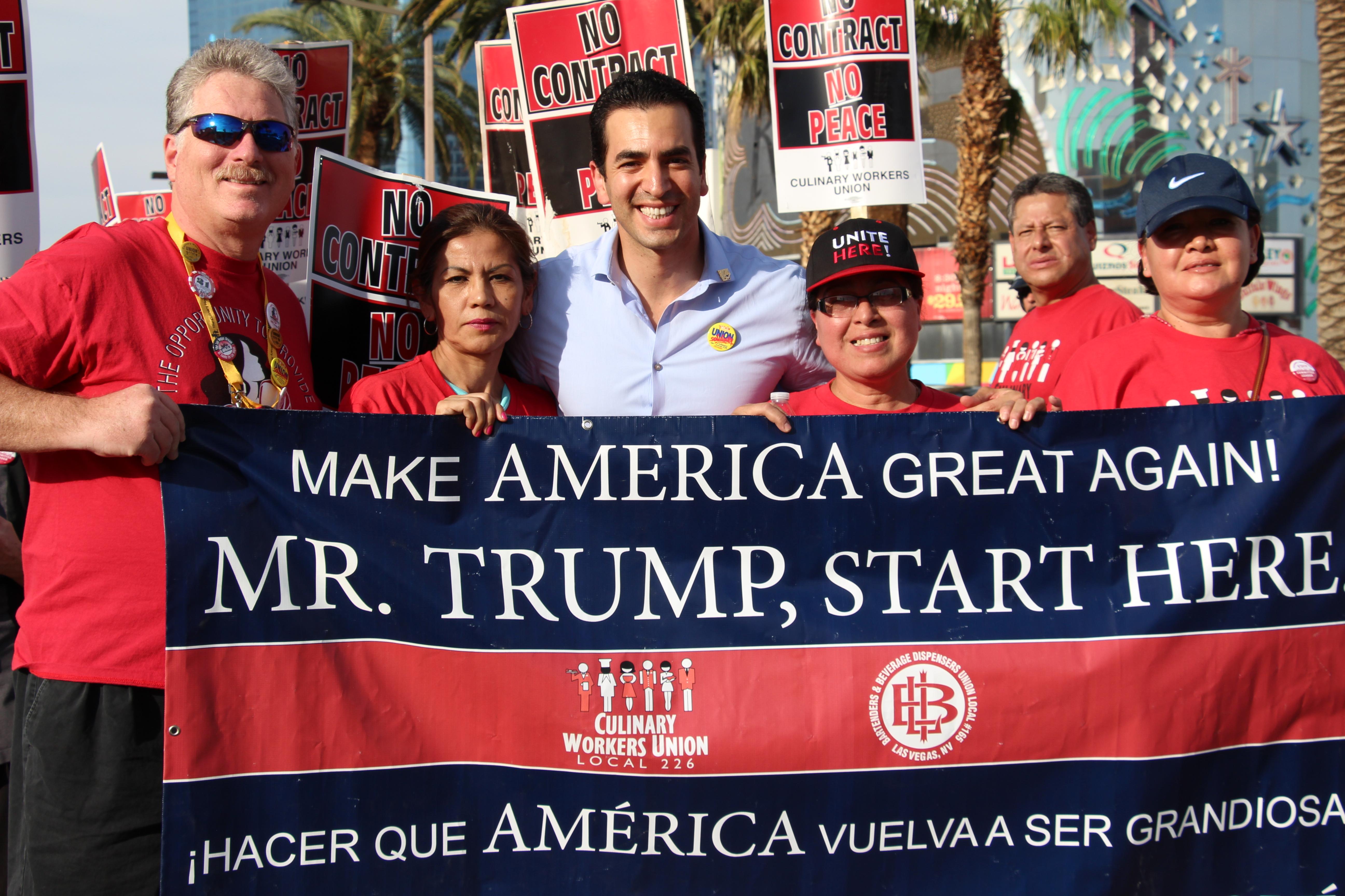 Unite Here members demand Trump Hotel recognizes their union.