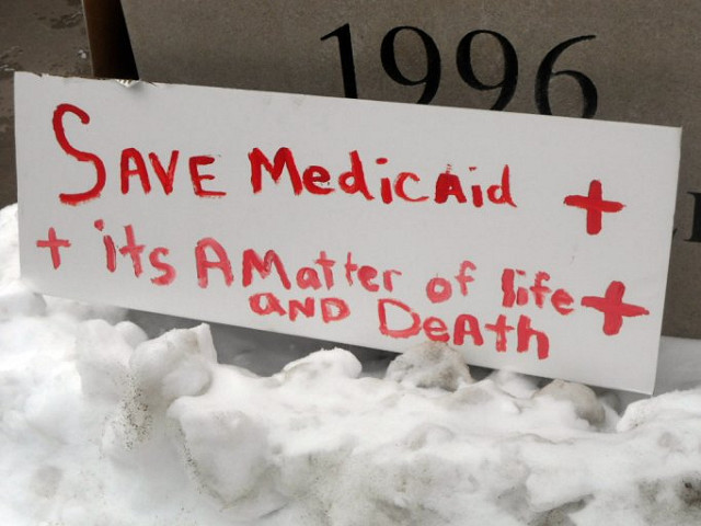 Rally sign to save Medicaid. It's a matter of life and death.