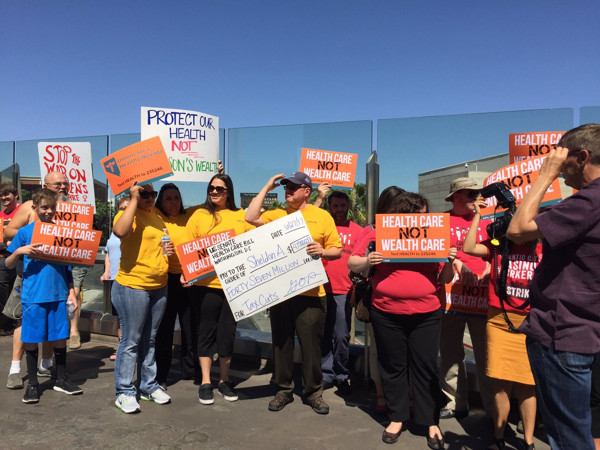 Working people gather in Las Vegas to urge Sen. Dean Heller to vote against the health care bill.