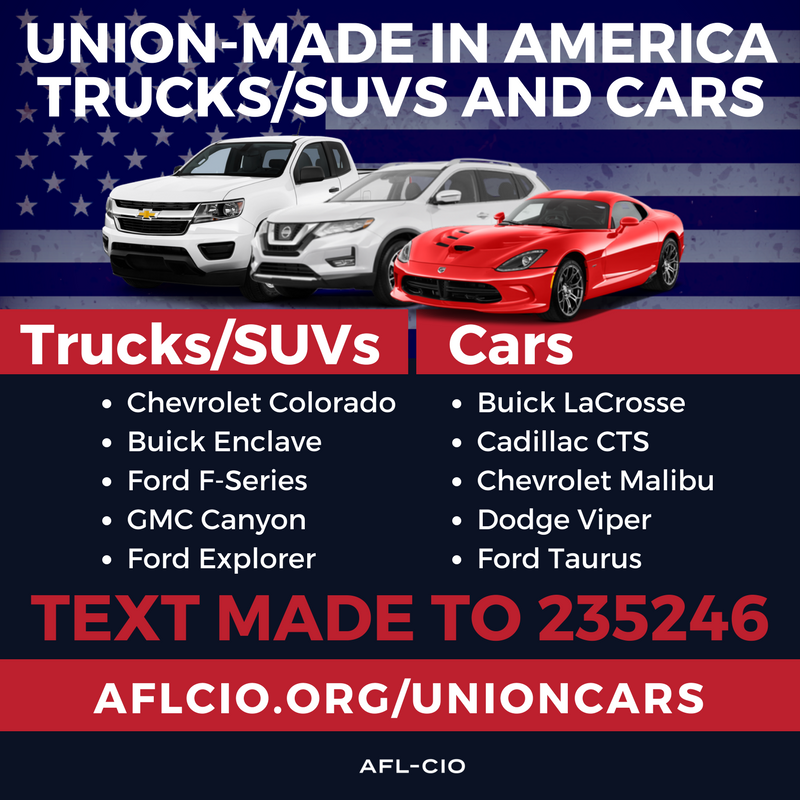 Union Made in America Cars and Trucks