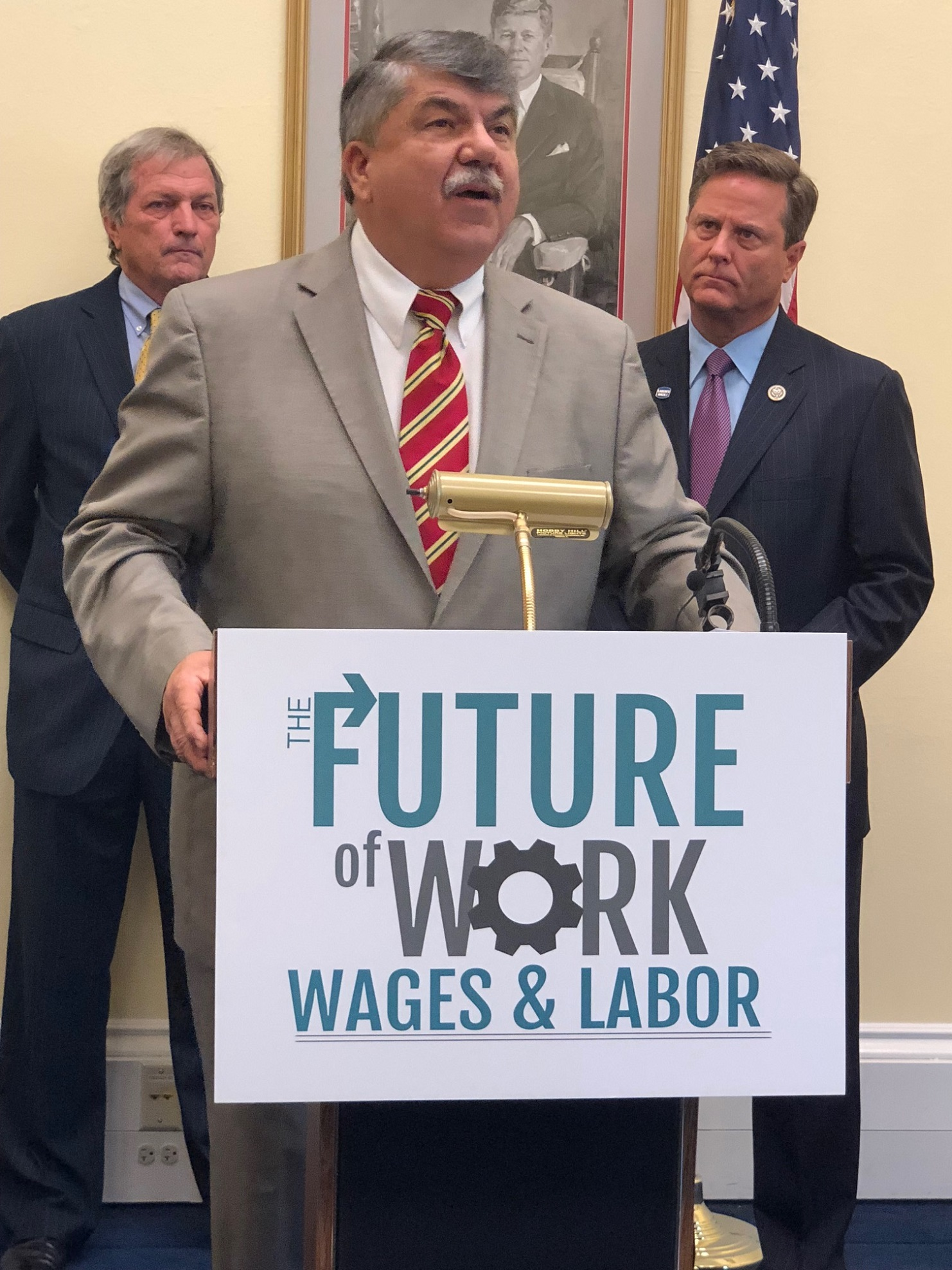 President Trumka addresses a press conference on the future of work.