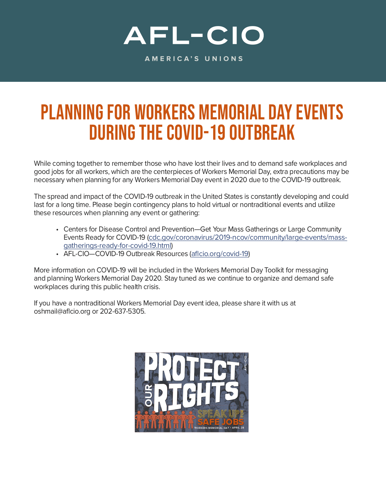 Planning for Workers Memorial Day Events During the COVID-19 Outbreak