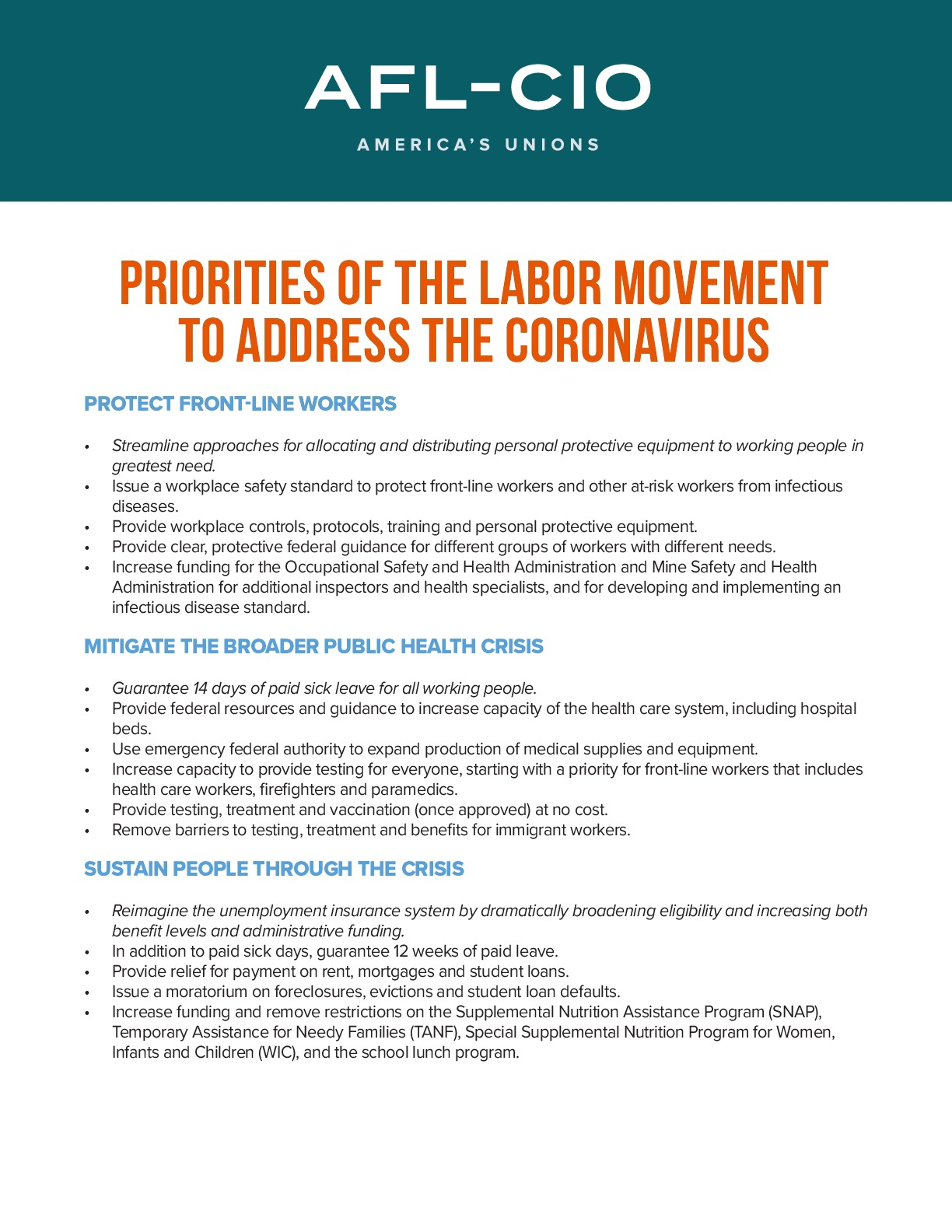 Priorities of the Labor Movement to Address the Coronavirus