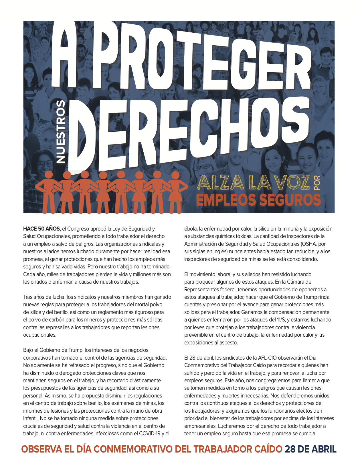 Workers Memorial Day Flyer/Fact Sheet - Spanish