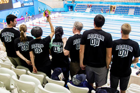 Adrian family and friends show support for Nathan in the Olympic aquatic center.
