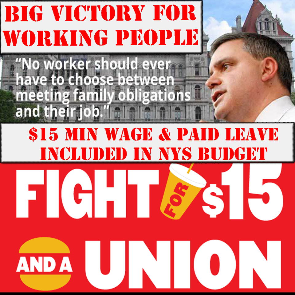 victory in new york new law raises minimum wage to and the unified efforts of 2 5 million working people and the 3 000 local unions of the new york state afl cio lead to a major victory on monday